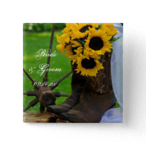 Rustic Sunflowers and Cowboy Boots Western Wedding Pinback Button