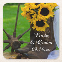 Rustic Sunflowers and Cowboy Boots Western Wedding Square Paper Coaster