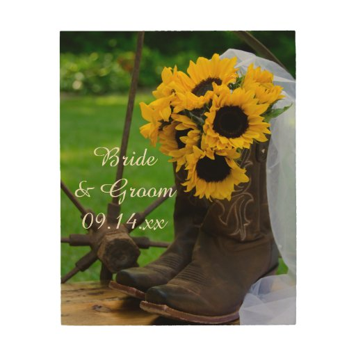 Rustic Sunflowers and Cowboy Boots Western Wedding Wood ...