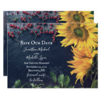 Rustic Sunflowers and Slate Save Our Date Wedding Invitation