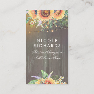Rustic Sunflowers and String Lights Barn Wood Business Card