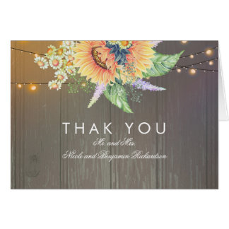 Rustic Sunflowers and String Lights Wood Thank You Card