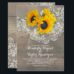 """Rustic Sunflowers and Vintage Floral Lace Wedding Card<br><div class=""""desc"""">Vintage lace and rustic sunflowers bouquet elegant barn wedding invitations. --- All design elements created by Jinaiji</div>"""