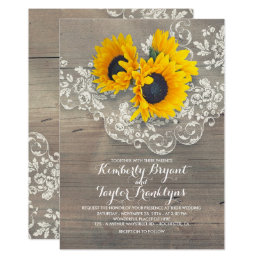 Sunflower wedding invitations announcements zazzle rustic sunflowers and vintage floral lace wedding card filmwisefo Choice Image