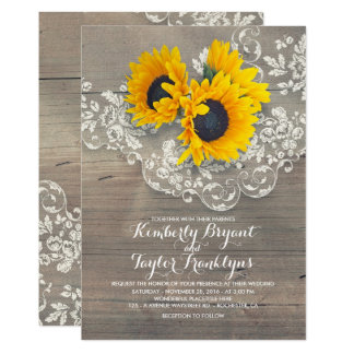 Rustic Sunflowers and Vintage Floral Lace Wedding Card
