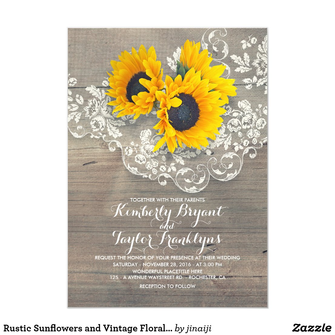 Rustic Sunflower Wedding Invitation with Vintage Floral Lace