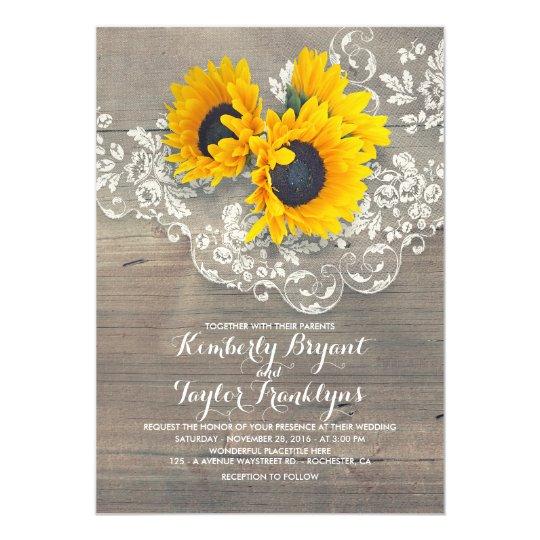 Rustic Sunflower Wedding Invitation Rustic Wedding Invitations – Sunflower Wedding Invite