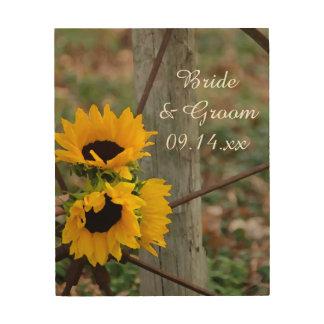 Rustic Sunflowers and Wagon Wheel Country Wedding Wood Wall Art