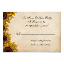 Rustic, sunflowers, autumn, fall rsvp 3.5 x 5 card