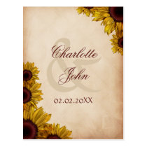 Rustic, sunflowers, autumn, fall save the date postcard