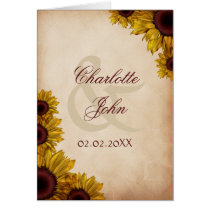 Rustic, sunflowers, autumn, fall Thank you Card