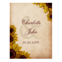 Rustic, sunflowers, autumn, fall Thank you Postcard