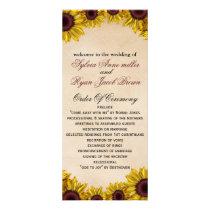Rustic, sunflowers, autumn, fall Wedding program