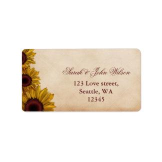 Rustic, sunflowers, autumn ,return address label