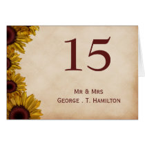 Rustic, sunflowers, autumn, wedding table numbers card