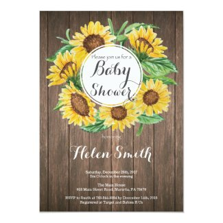 Rustic Sunflowers Baby Shower Invitation
