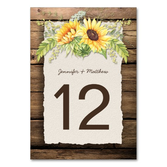 Rustic Sunflowers Barn Wood Deckle Edge Table Number