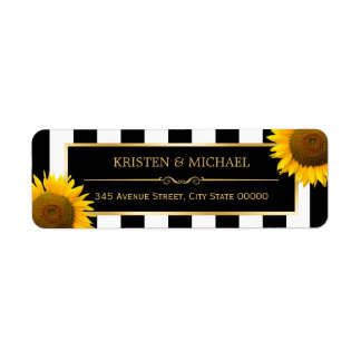 Rustic Sunflowers Black White Stripes RSVP Label