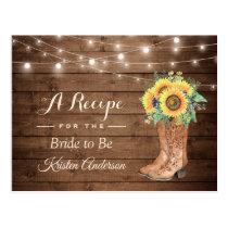 Rustic Sunflowers Boots Bridal Shower Recipe Postcard