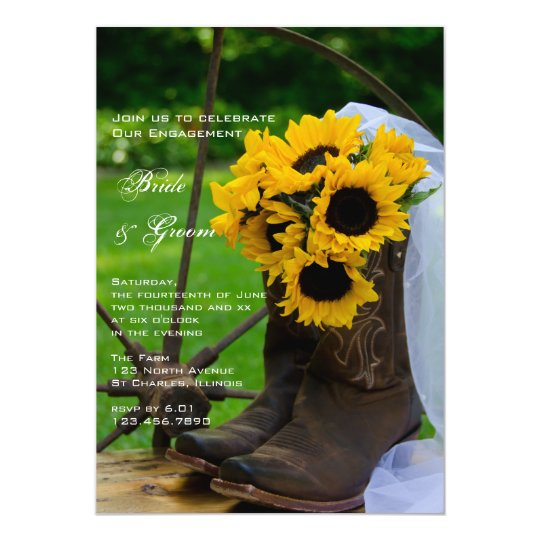 Rustic Sunflowers Boots Country Engagement Party Card