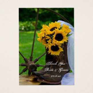 Rustic Sunflowers Boots Country Wedding Favor Tags