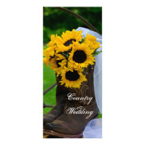Rustic Sunflowers Boots Country Wedding Program