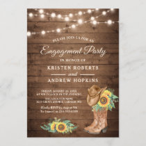 Rustic Sunflowers Boots Lights Engagement Party Invitation