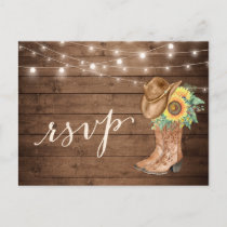 Rustic Sunflowers Boots String Lights RSVP Invitation Postcard