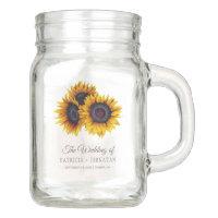 Rustic sunflowers bouquets elegant wedding favor mason jar