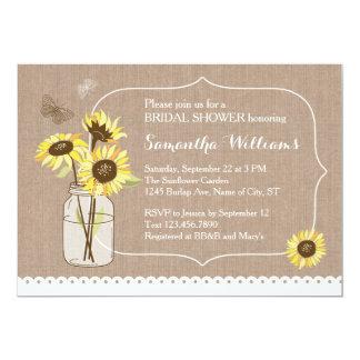 "Rustic Sunflowers Bridal Shower Invitation 5"" X 7"" Invitation Card"