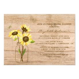 Rustic Sunflowers Bridal Shower Invitation