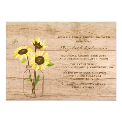 Vintage sunflowers on mason jar wedding invitation zazzle filmwisefo Images