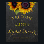 "Rustic sunflowers bridal shower welcome sign<br><div class=""desc"">Elegant fall bridal shower stylish welcome sign poster template on dark gray chalkboard featuring a beautiful sunflowers bouquet. Fill in your information in the spots, You can choose to customize it further changing fonts and colors of lettering. ---- It is suitable for elegant summer or autumn fall rustic country shower...</div>"