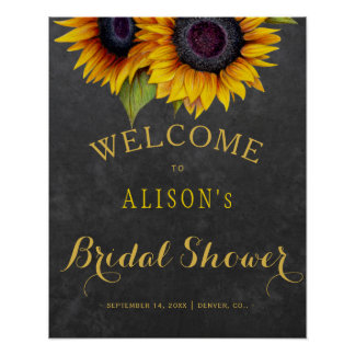 Rustic sunflowers bridal shower welcome sign