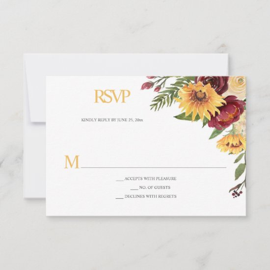 Rustic Sunflowers & Burgundy Floral RSVP Card