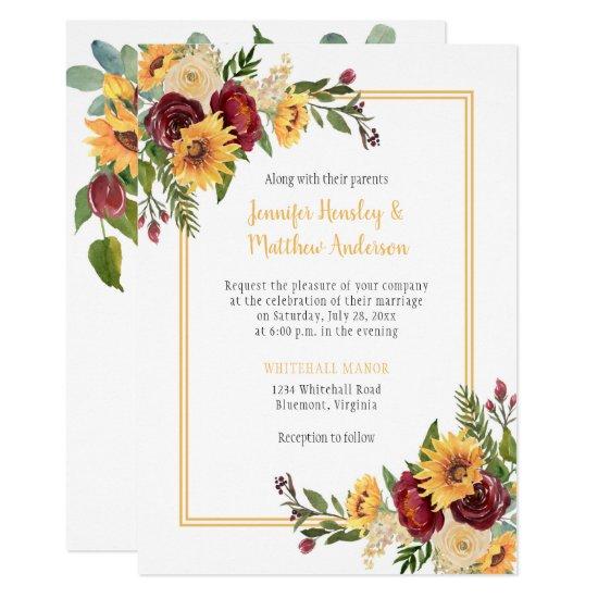 Rustic Sunflowers & Burgundy Peonies Roses Wedding Invitation