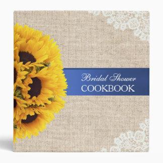 Rustic Sunflowers Burlap Bridal Shower Cookbook 3 Ring Binder