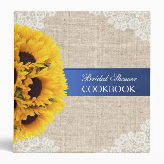 Rustic Sunflowers Burlap Bridal Shower Cookbook Binder