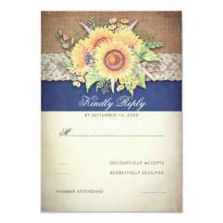 Burlap and Lace Rustic Sunflower Navy Blue RSVP Cards