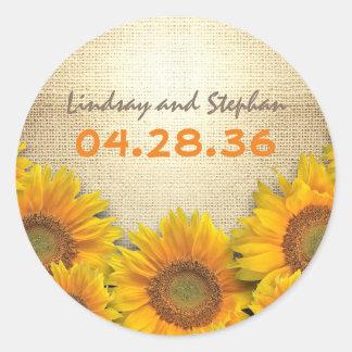 Rustic Sunflowers Burlap Wedding Classic Round Sticker