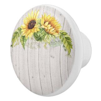 Rustic Sunflowers Ceramic Knob