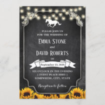 Rustic Sunflowers Chalkboard Horse Wedding Invitation