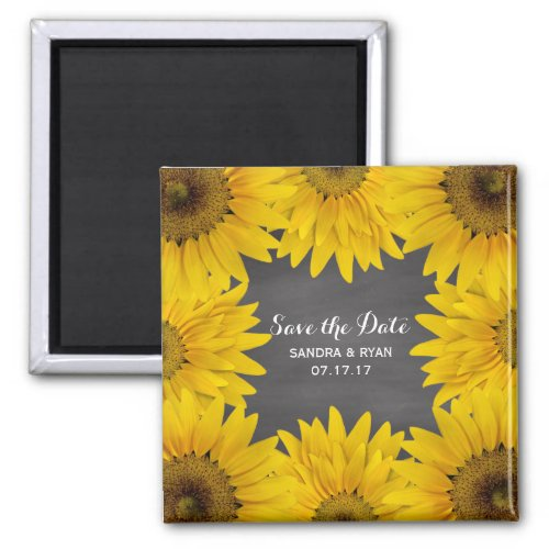 Rustic Sunflowers Chalkboard Save the Date Wedding Magnet