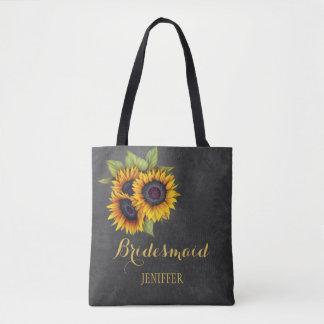 Rustic sunflowers chalkboard wedding bridesmaid tote bag