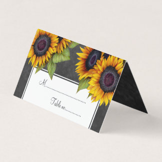 Rustic sunflowers chalkboard wedding table place place card