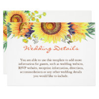 Rustic Sunflowers Chic Clean Wedding Details Info Card