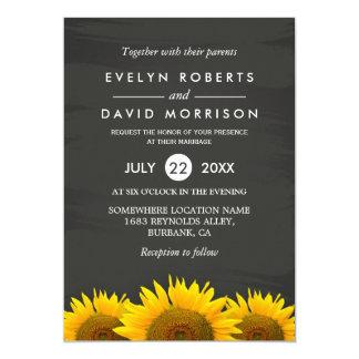 Rustic Sunflowers Classy Chalkboard Formal Wedding Card