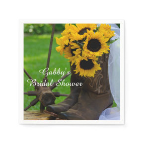 Rustic Sunflowers Country Bridal Shower Napkins Standard Cocktail Napkin
