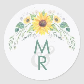 Rustic Sunflowers Country Wedding Classic Round Sticker