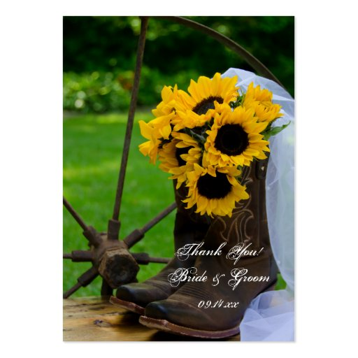 Rustic Sunflowers Country Wedding Favor Tags Business Card Template